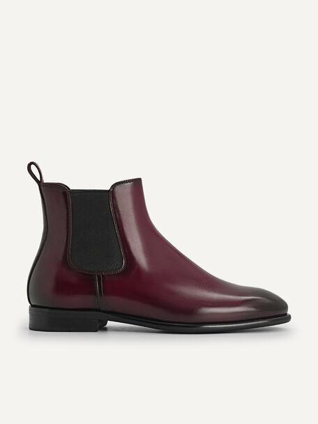 Burnished Leather Chelsea Boots, Mahogany, hi-res