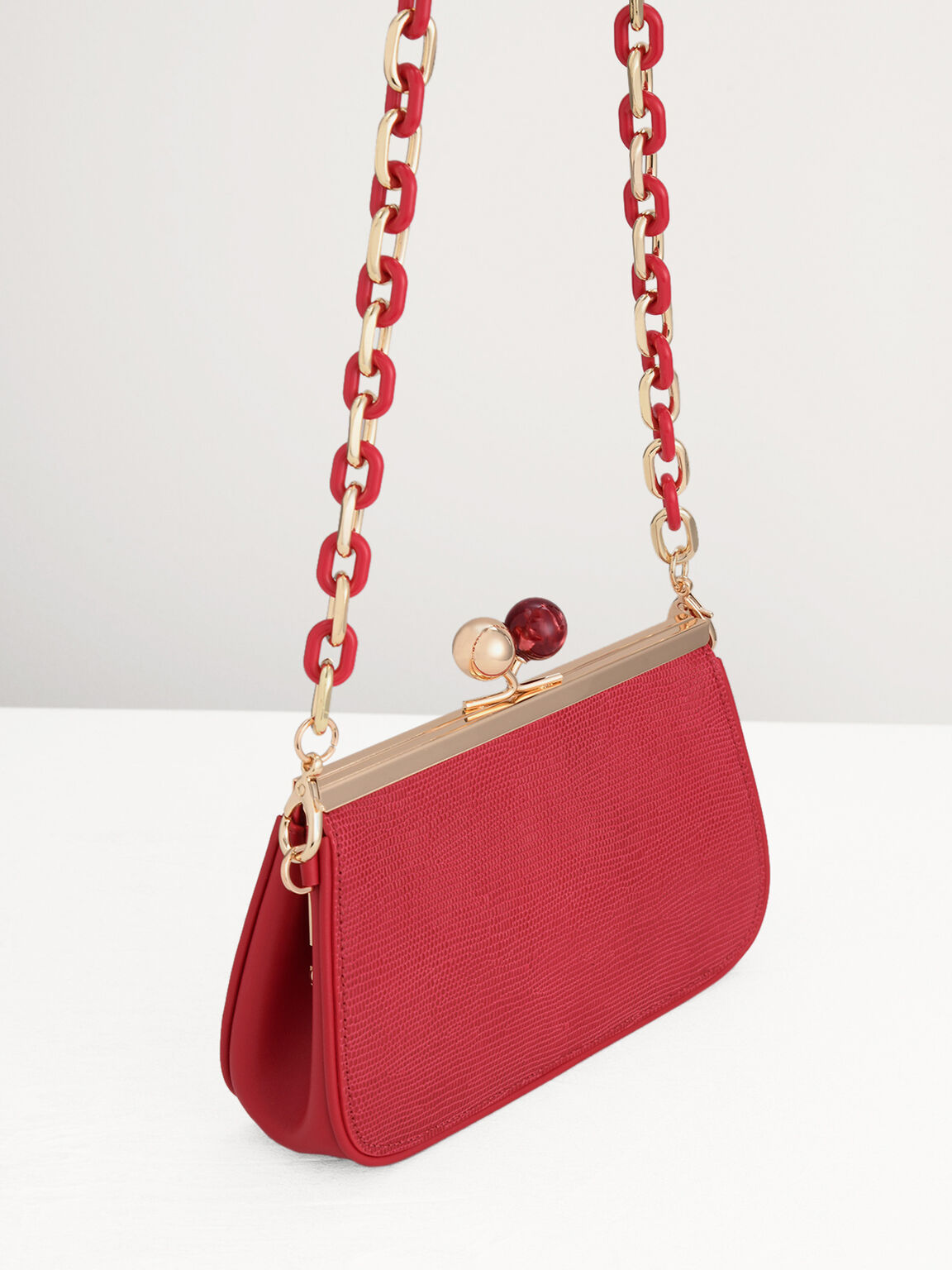 Kiss-Lock Leather Bag with Lizard Effect, Red, hi-res