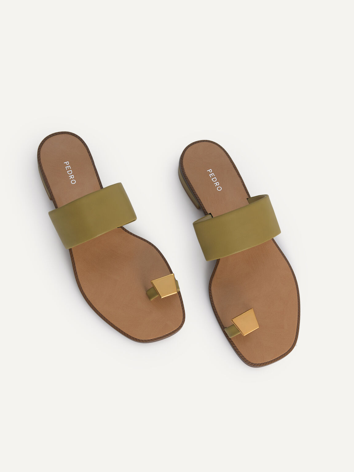 Gold Ornament Toe Loop Sandals, Olive, hi-res