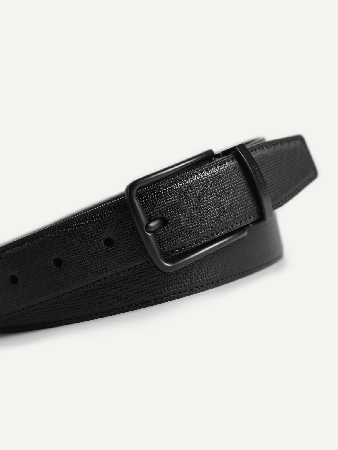 Textured Reversible Leather Belt, Black, hi-res