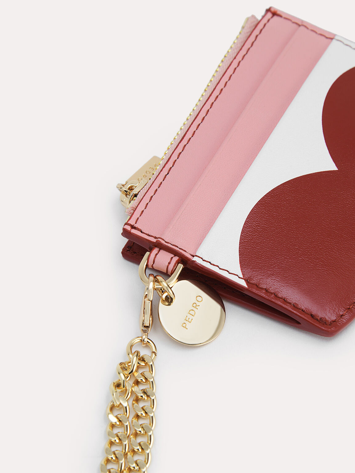Leather Cardholder with Printed Heart, Multi, hi-res