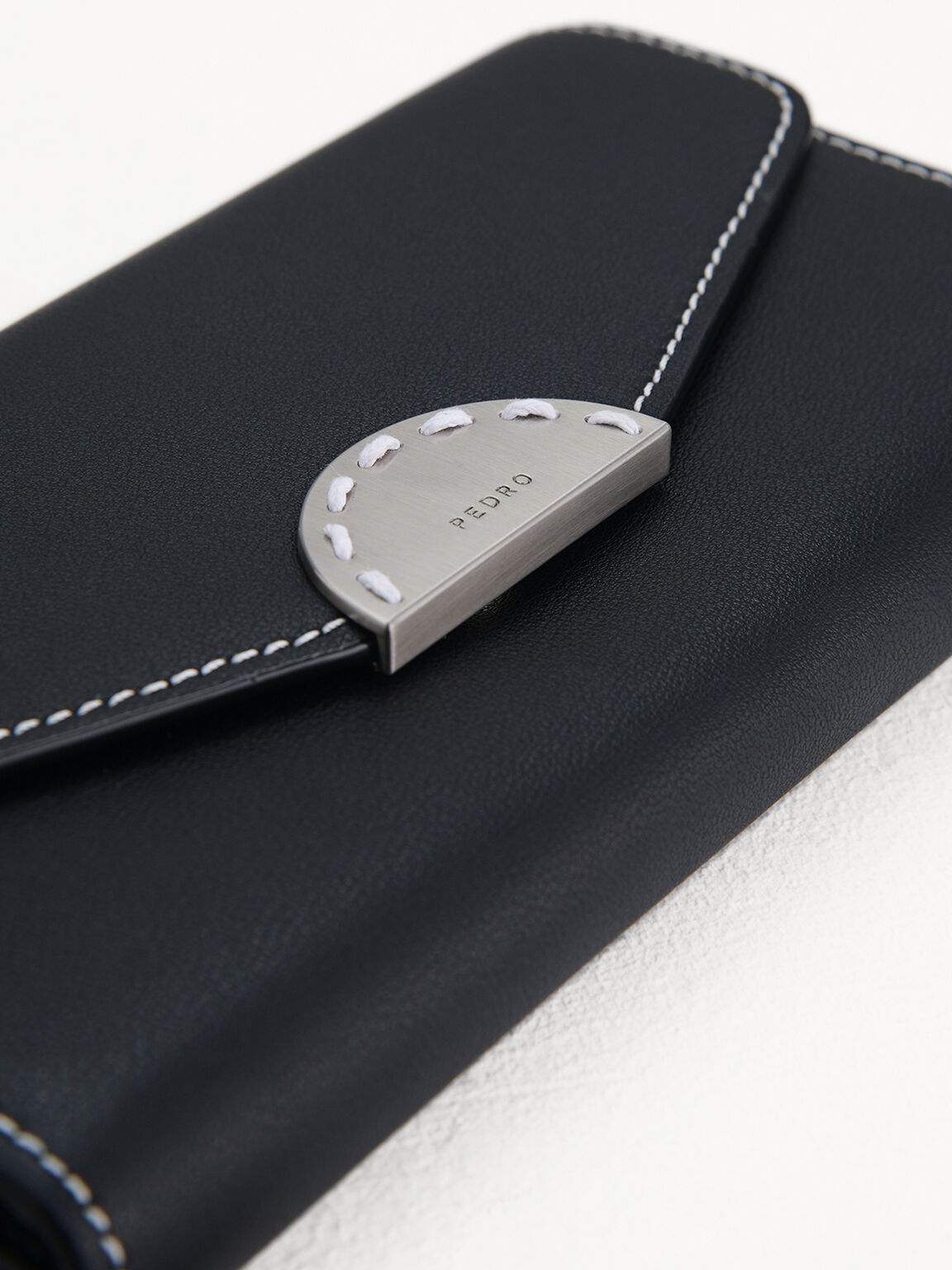 Long Leather Wallet on Chain, Black, hi-res