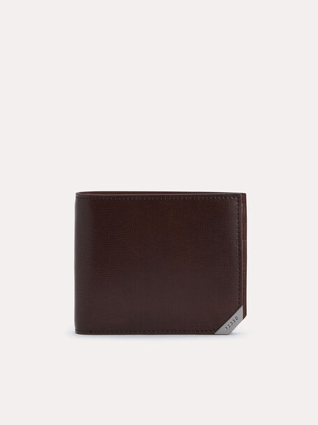 Textured Leather Bi-Fold Wallet with Flip, Brown, hi-res