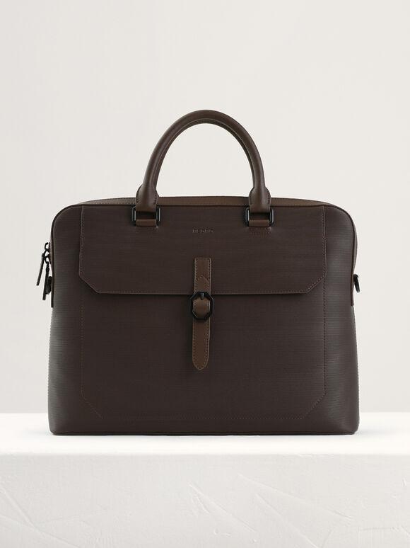 Leather Buckle Briefcase, Dark Brown, hi-res