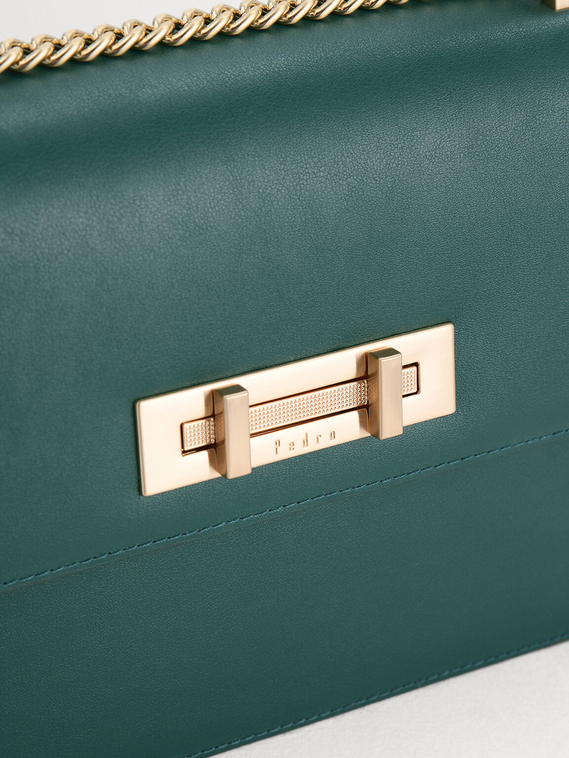 Boxy Leather Shoulder Bag, Green, hi-res