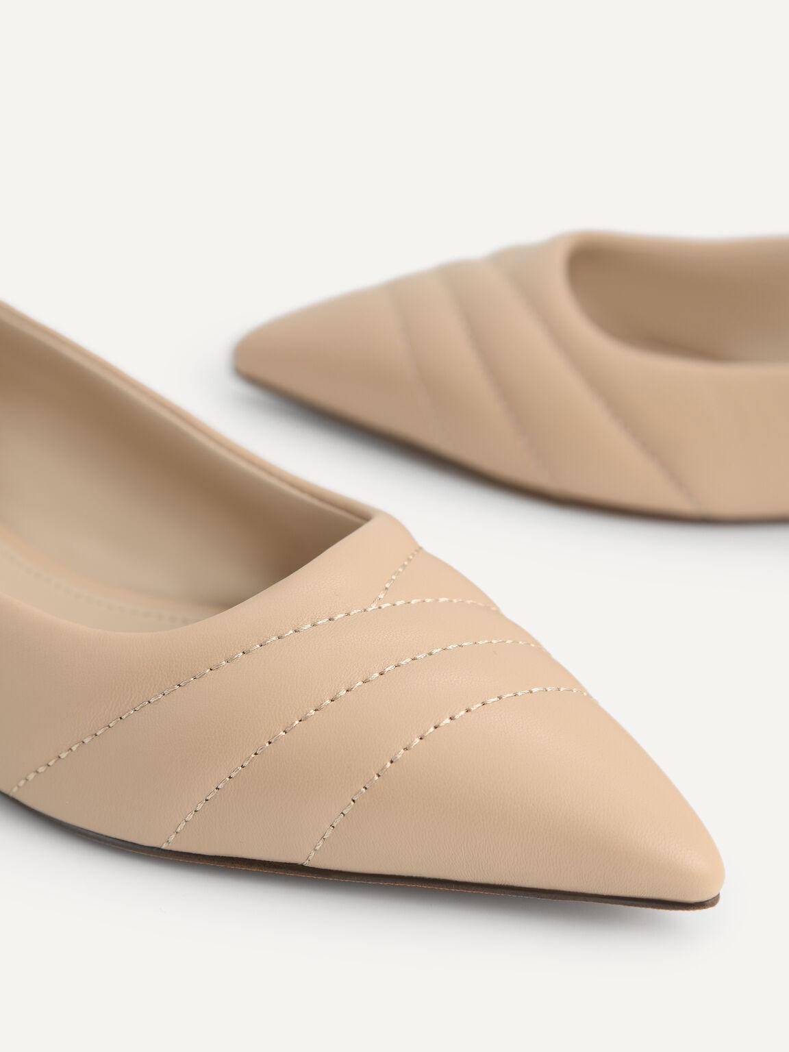 尖頭皮革平底鞋, 沙色, hi-res