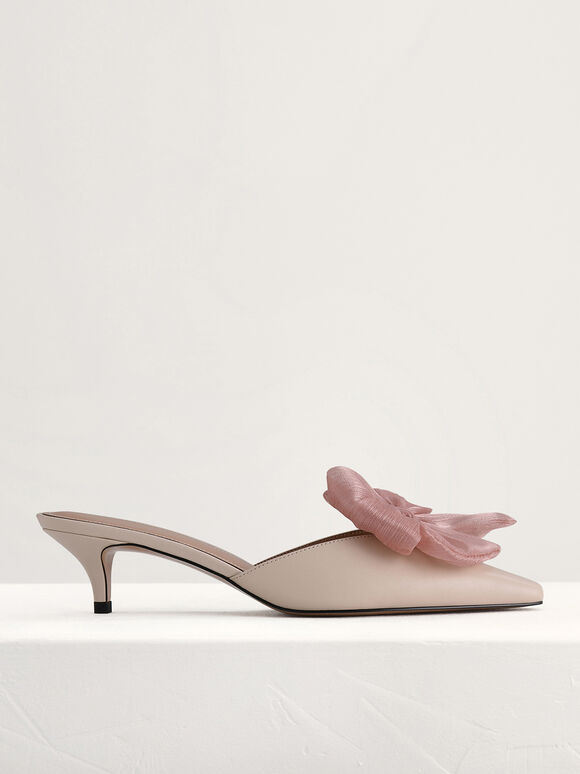 Bow Leather Heeled Mules, Cream, hi-res
