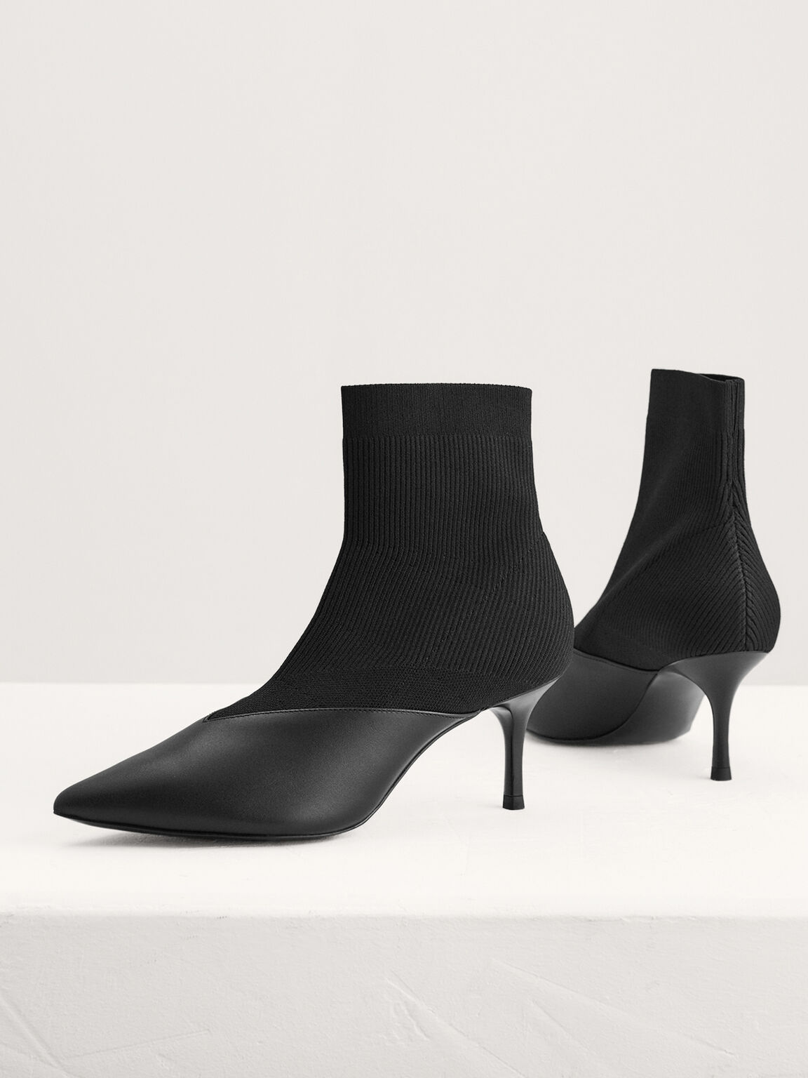 Paneled Leather And Knit Sock Boots, Black, hi-res