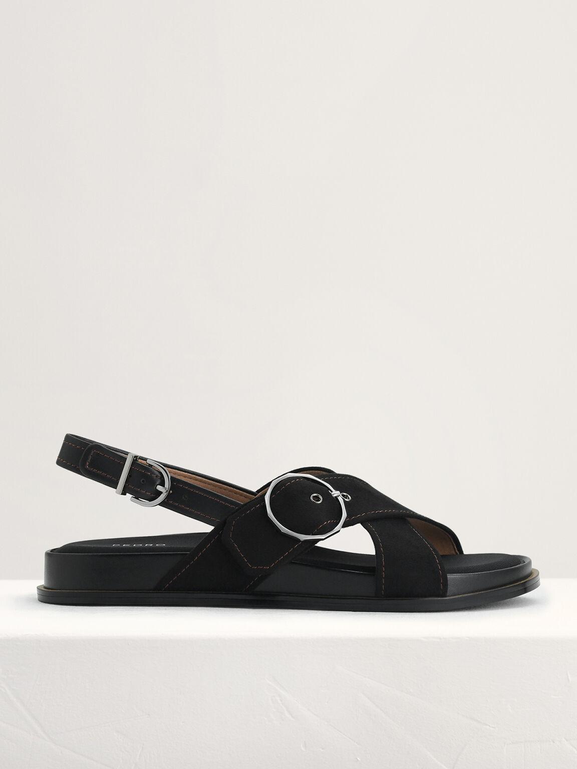 Platform Slingback Sandals, Black, hi-res