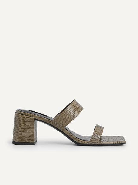 Lizard-effect Heeled Sandals, Military Green, hi-res