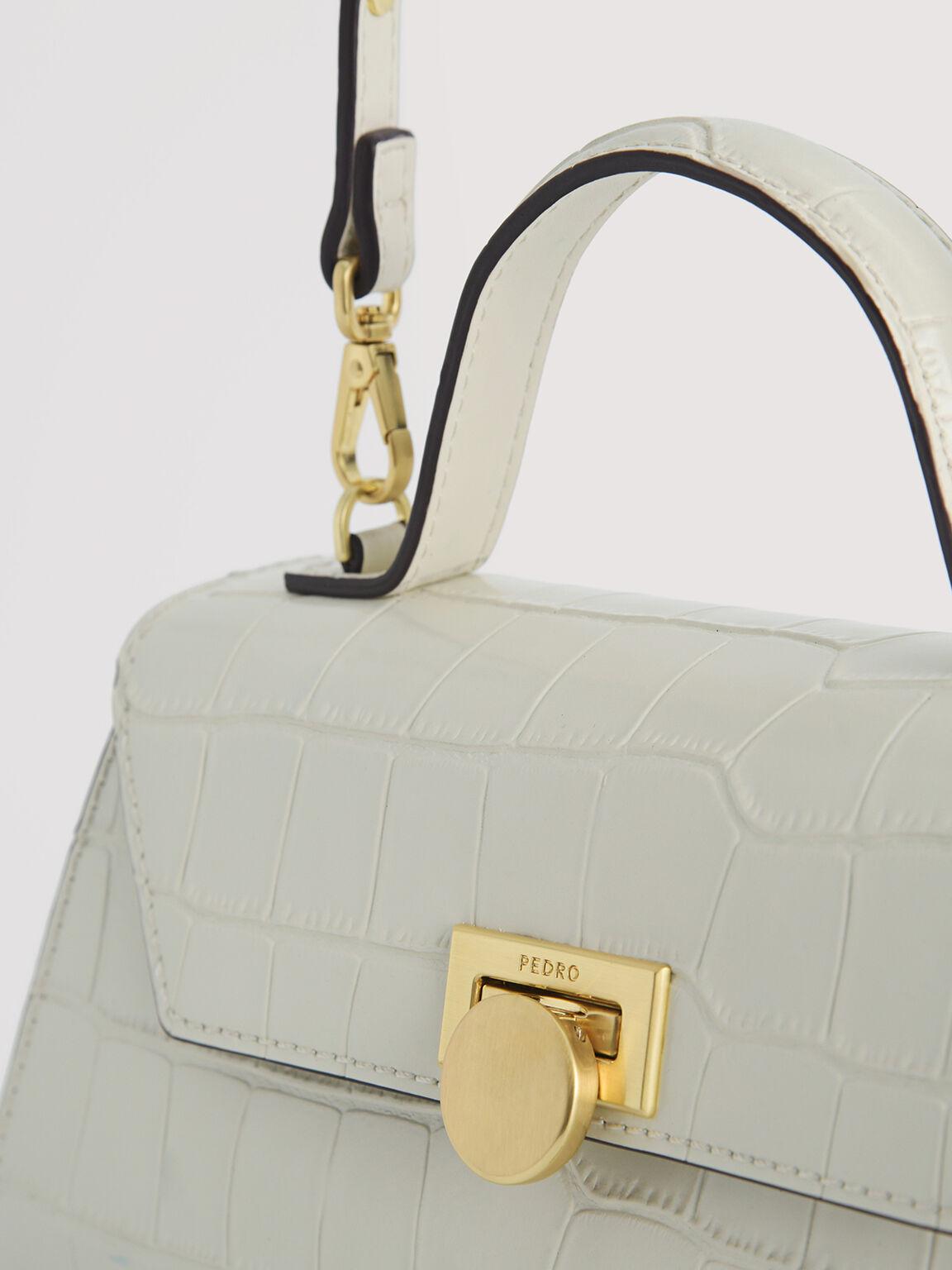 Croc-Effect Trapeze Top Handle Bag, Chalk, hi-res