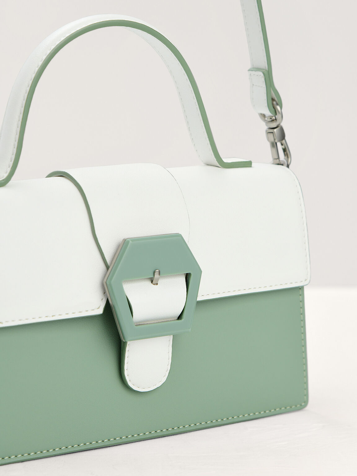 Mini Buckled Front Flap Bag in Two-Tone, Mint, hi-res