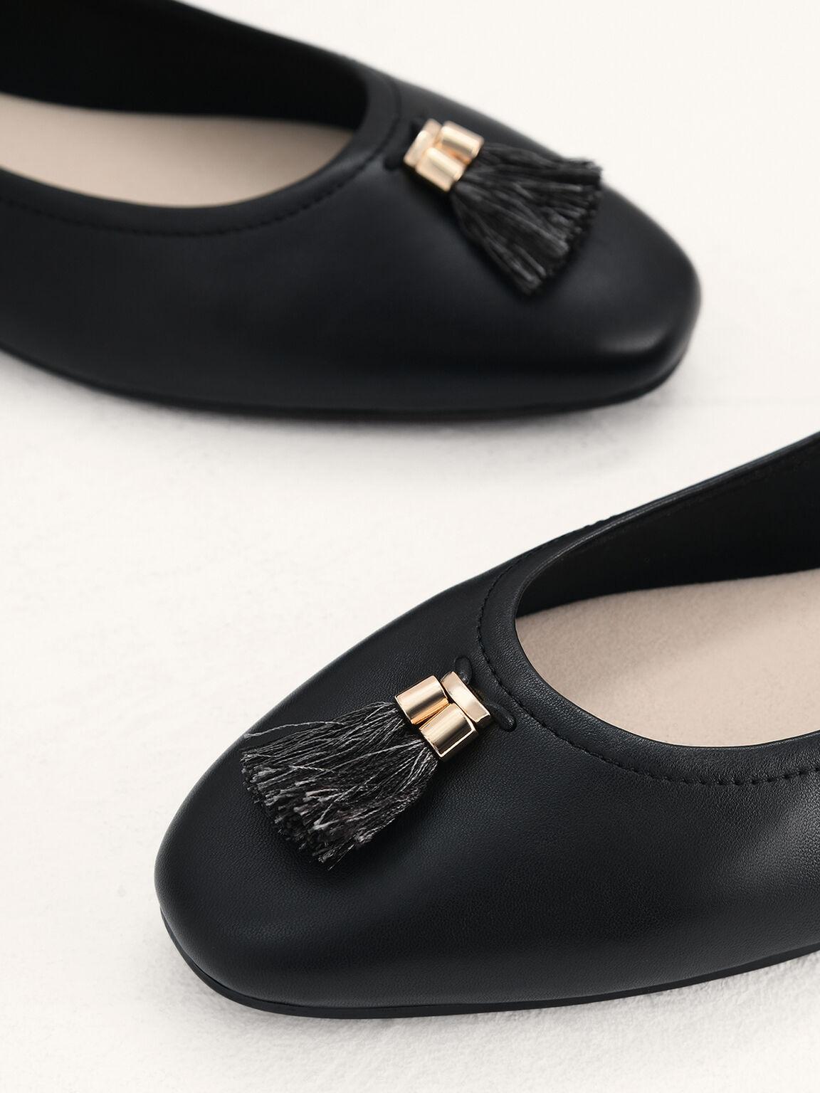 Leather Ballerina Flats, Black, hi-res