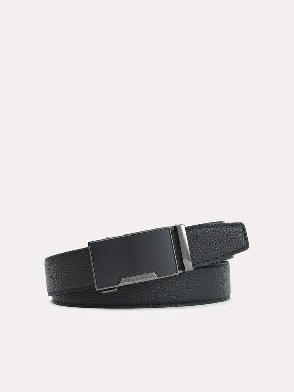 Automatic Textured Leather Belt, Black, hi-res