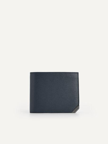 Textured Leather Bi-Fold Wallet with Flip, Navy, hi-res