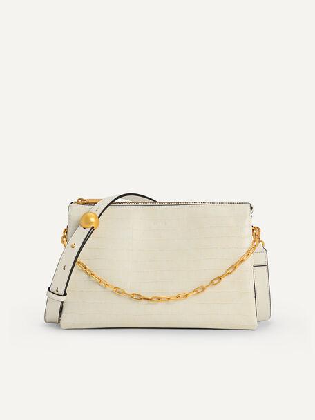 Croc-Effect San Shoulder Bag, Beige, hi-res
