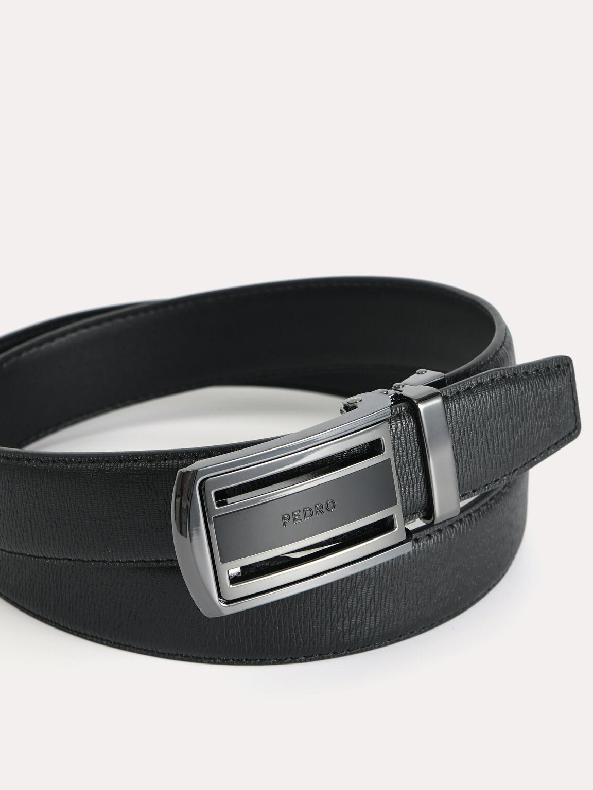 Textured Leather Automatic Belt, Black, hi-res