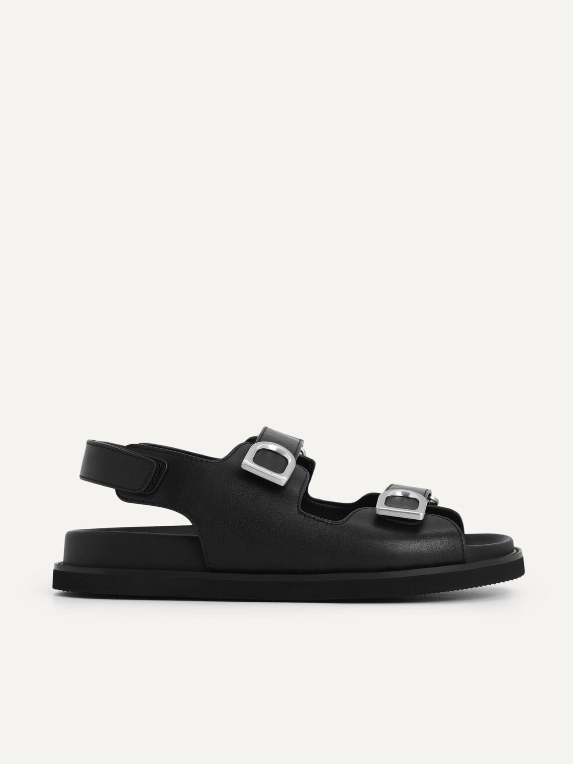 Double Strap Platform Sandals, Black, hi-res