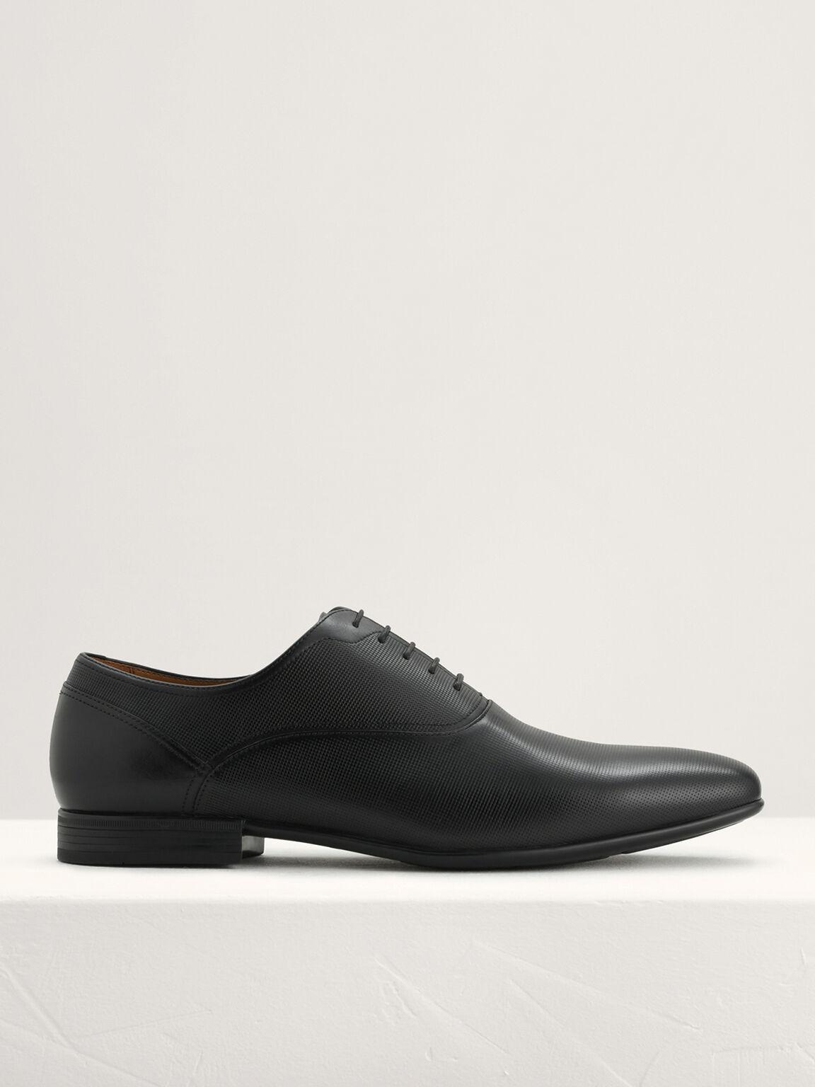 Leather Oxford Shoes, Black, hi-res