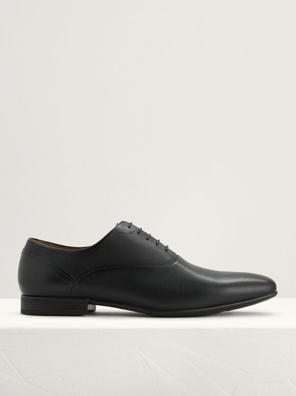 Leather Oxford Shoes, Black, hi-res