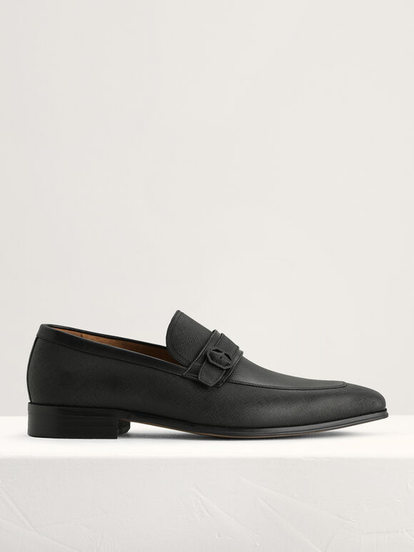 Buckled Leather Loafers, Black, hi-res