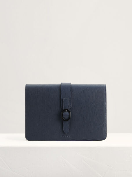 Buckled Leather Clutch, Navy, hi-res