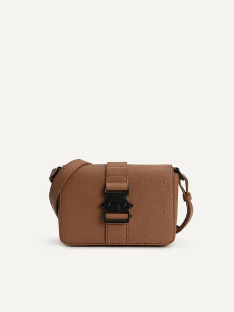 Boxy Crossbody Bag, Brown, hi-res