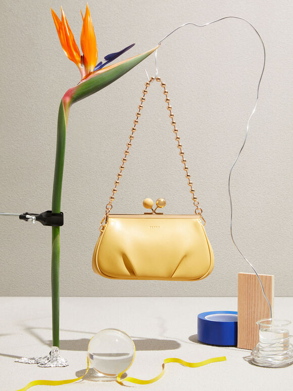 Shoulder Bag with Pearl Closure, Yellow, hi-res