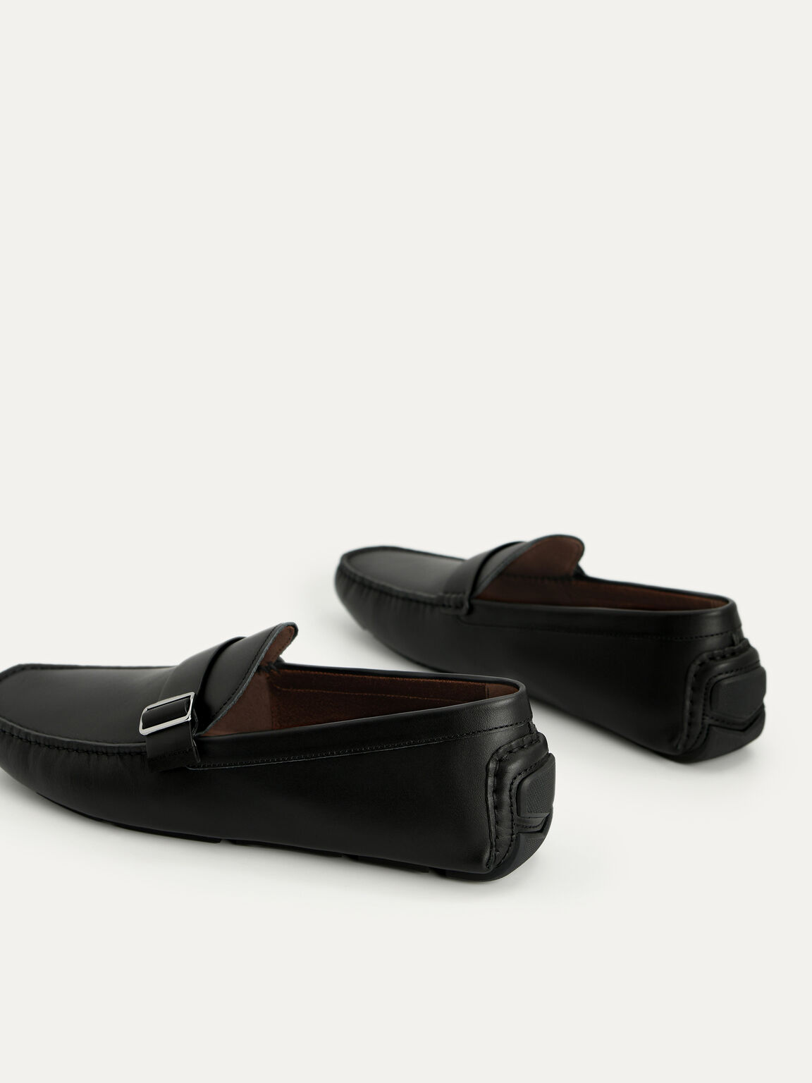 Leather Moccasins with Buckle Detail, Black, hi-res