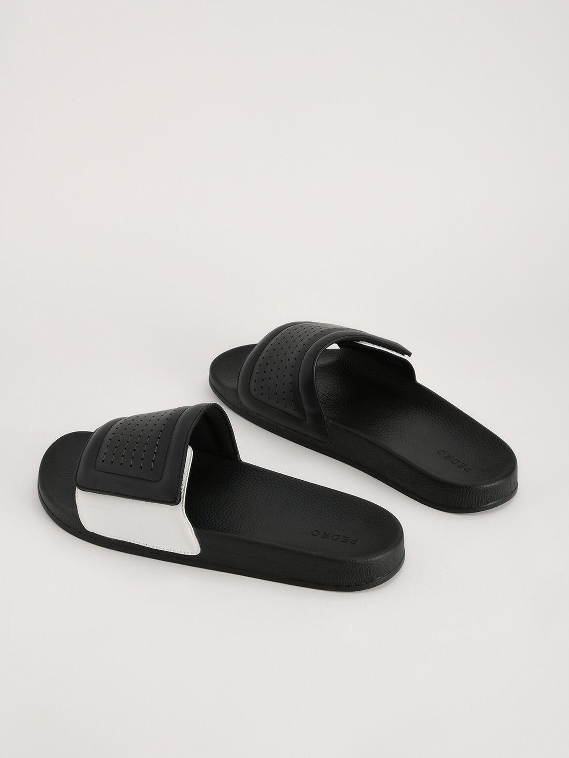 Pinhole Velcro Slides, Black, hi-res