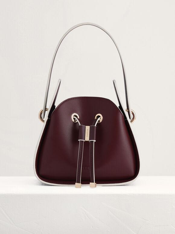 Drawstring Bucket Bag, Mahogany, hi-res
