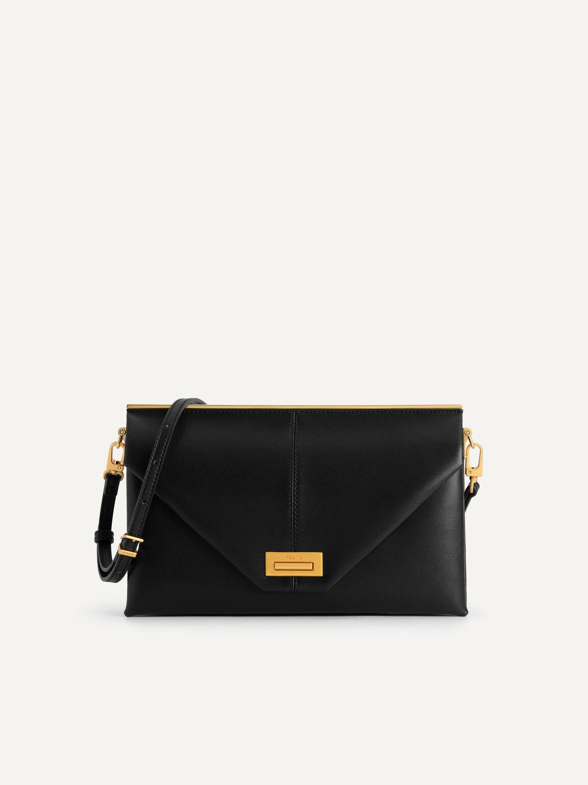 Envelope Leather Shoulder Bag, Black, hi-res