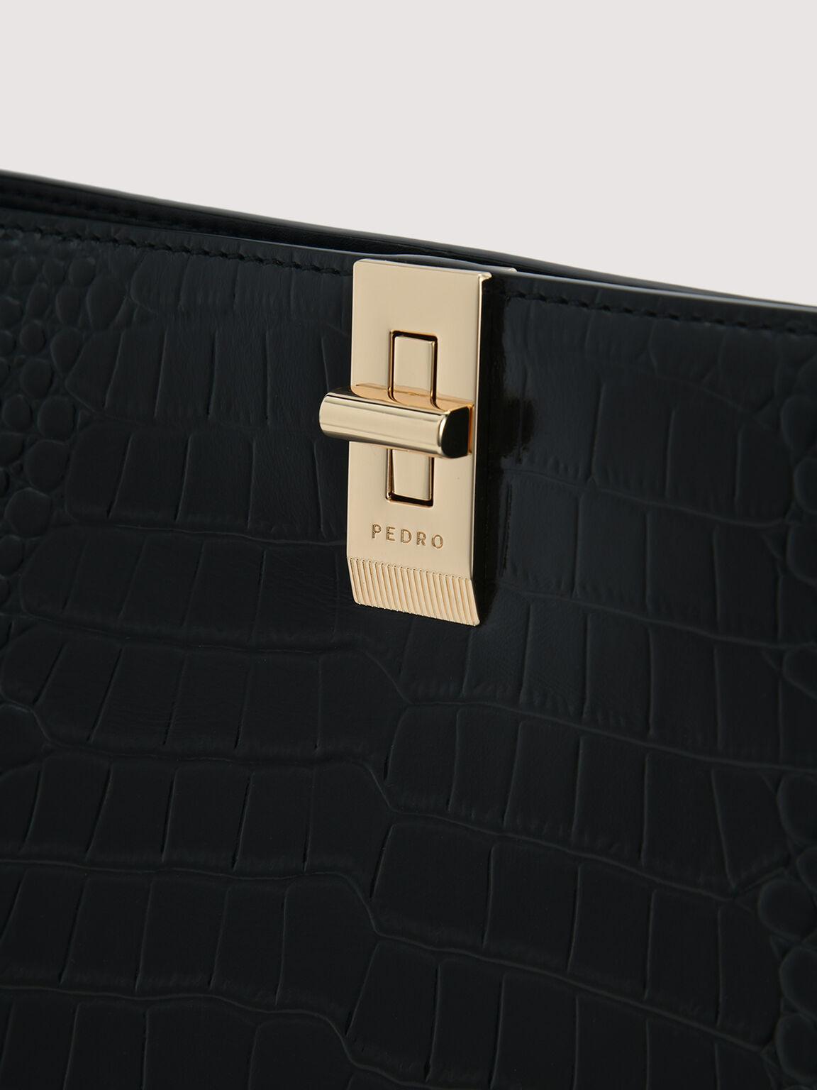 Embossed Leather Top Handle, Black, hi-res