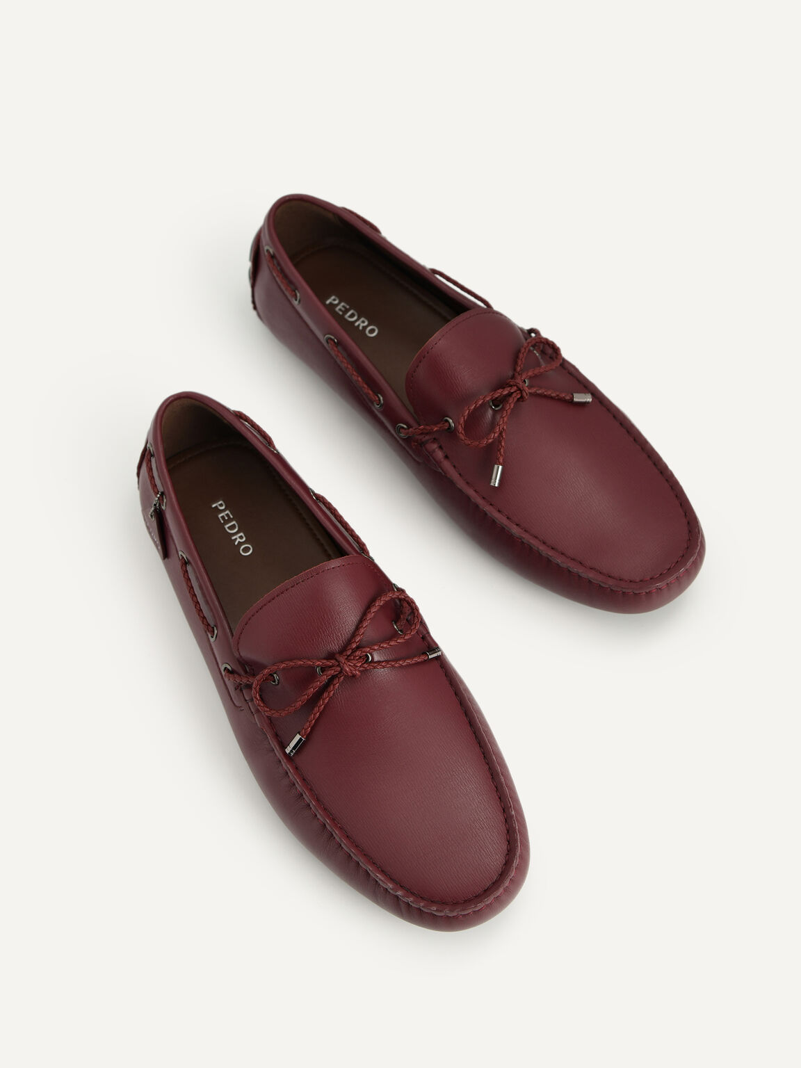 Textured Leather Moccasins, Maroon, hi-res