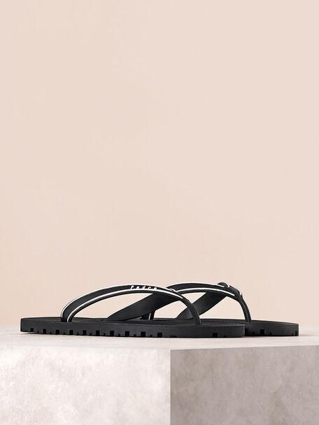 Casual Thong Sandals, Black, hi-res