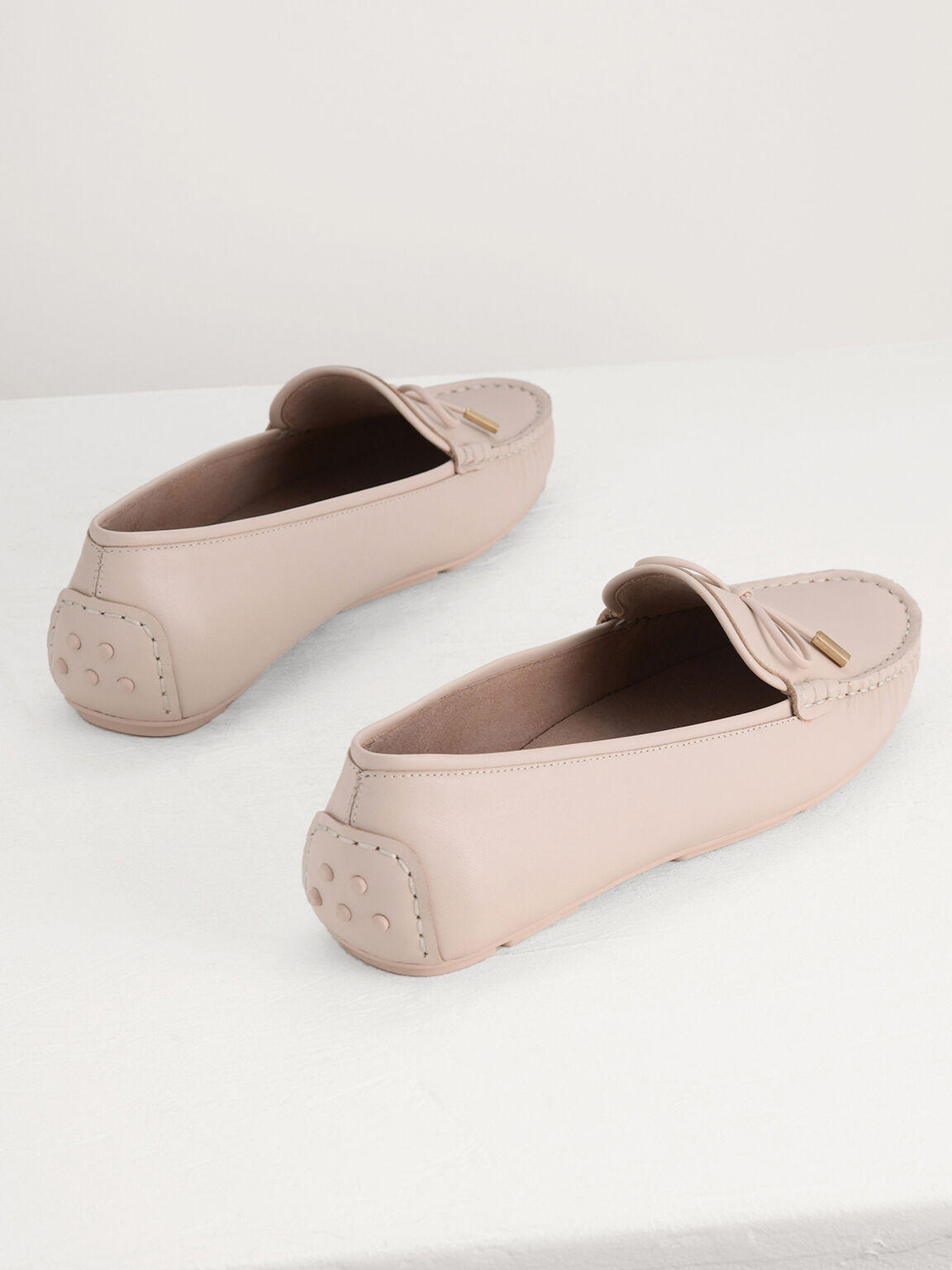 Leather Bow Moccasins, Cream, hi-res