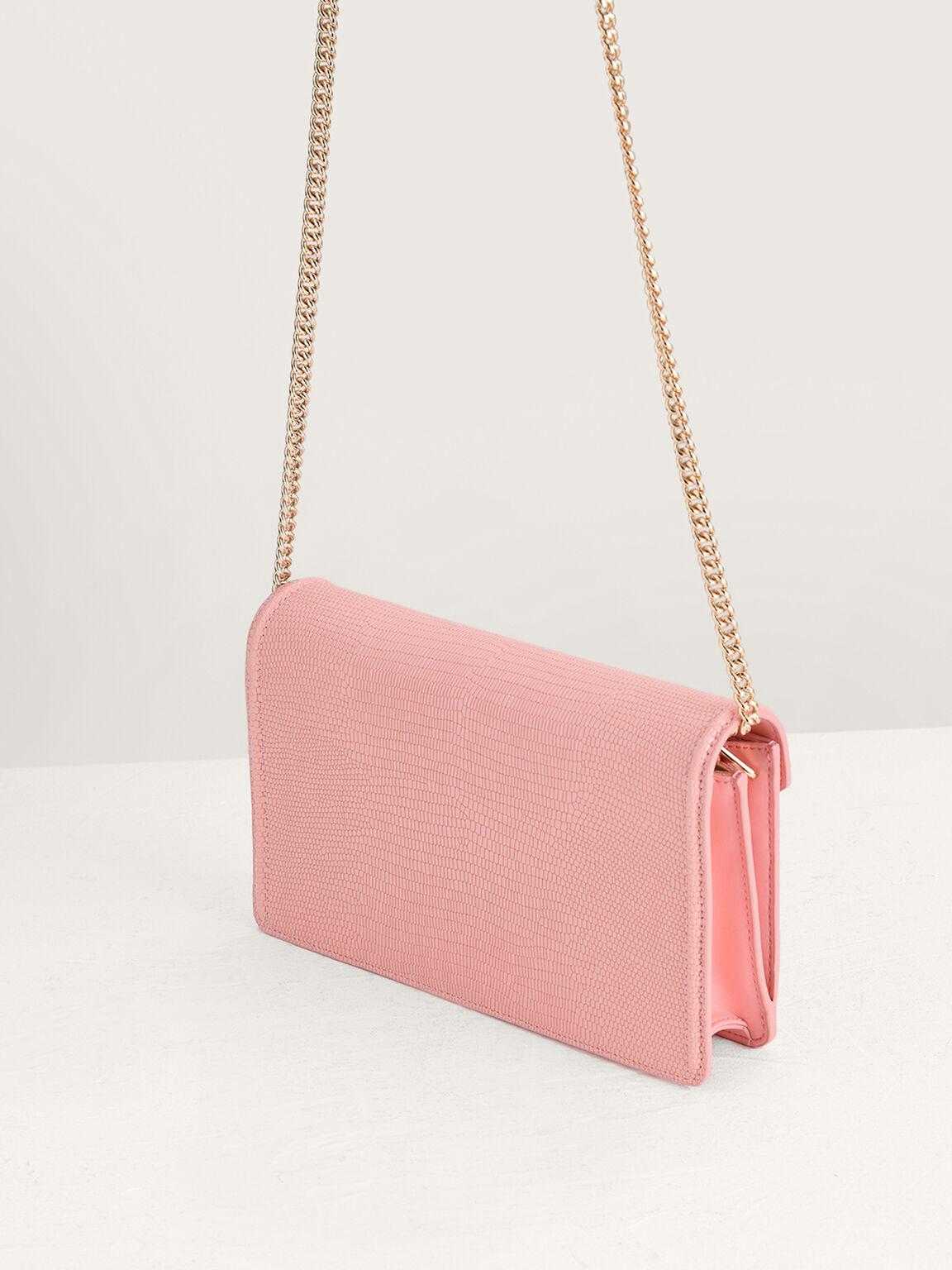Lizard-Effect Leather Shoulder Bag, Pink, hi-res