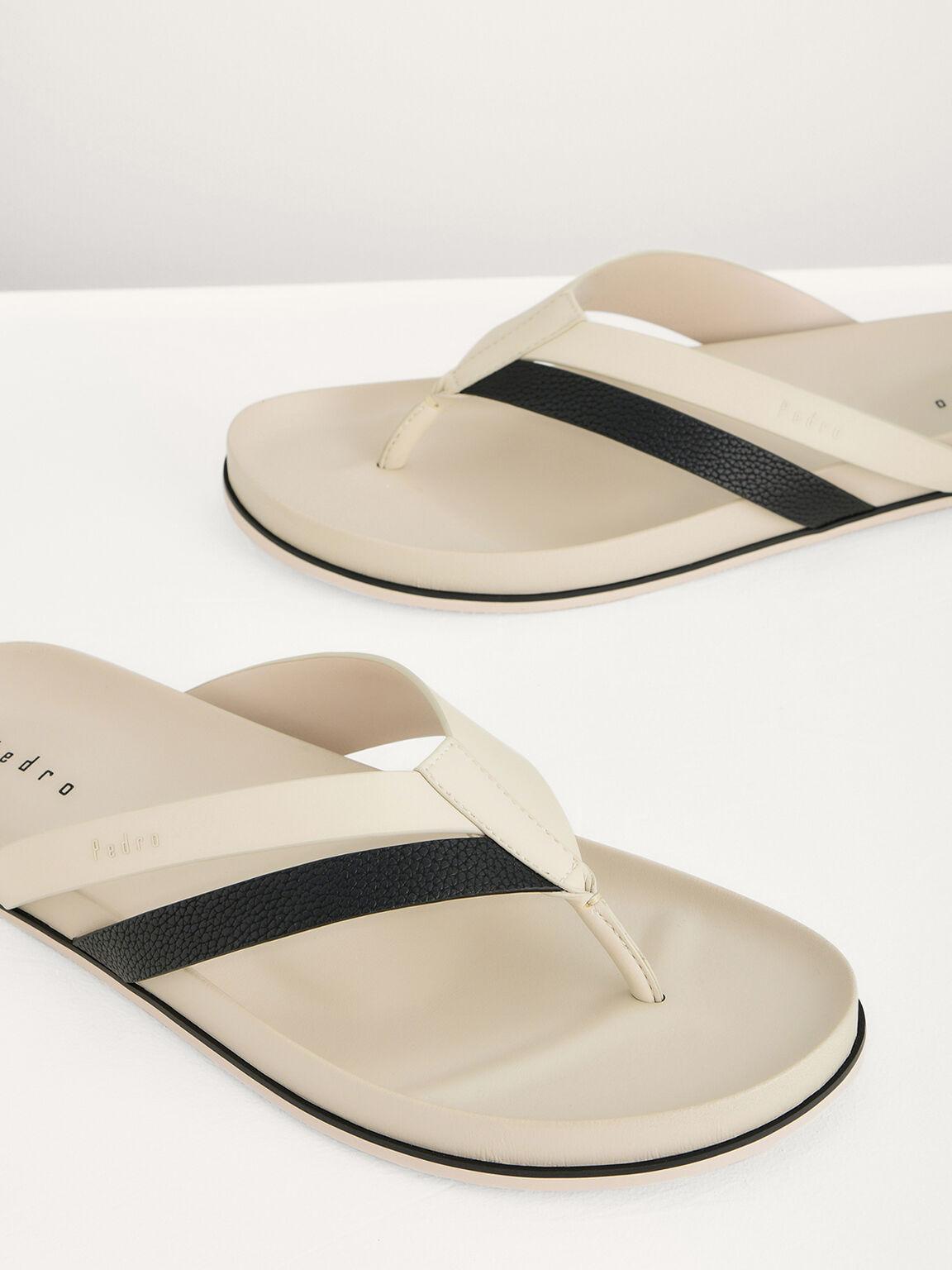Textured Thong Sandals, Sand, hi-res