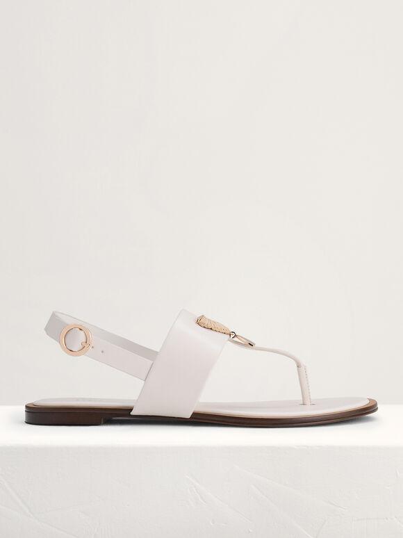 Fan Embellished Thong Sandals, Chalk, hi-res
