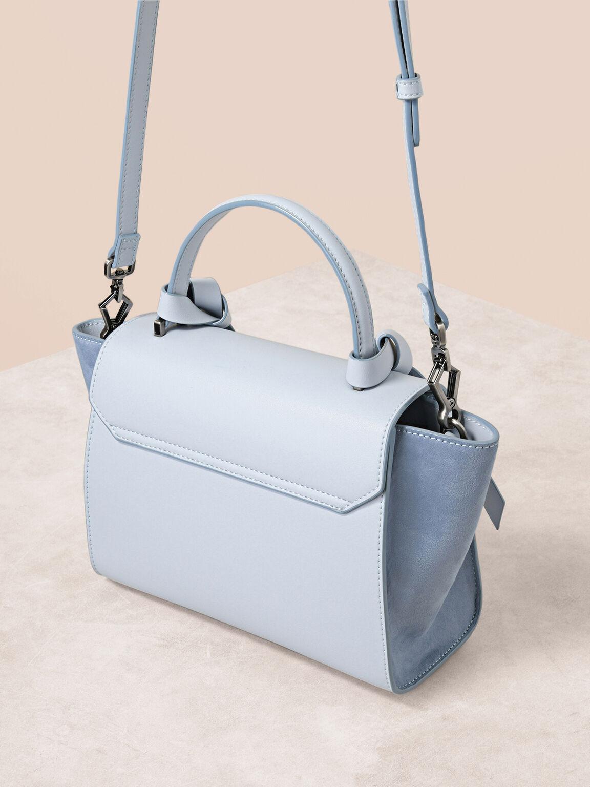 Knot Detail Trapeze Top Handle Bag, Light Blue, hi-res