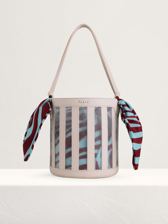 Striped Bucket Bag, Multi, hi-res