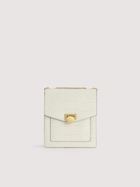 Croc-Effect Leather Shoulder Bag, Chalk, hi-res
