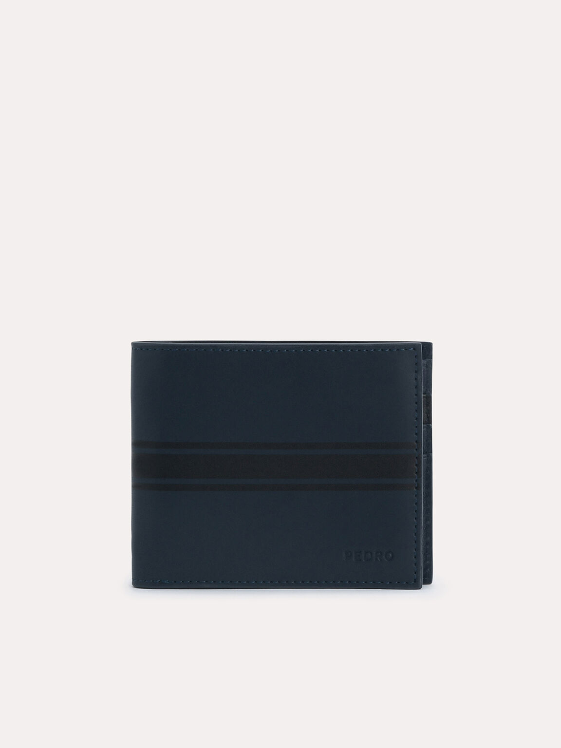 Two-Tone Leather Bi-Fold Wallet, Navy, hi-res