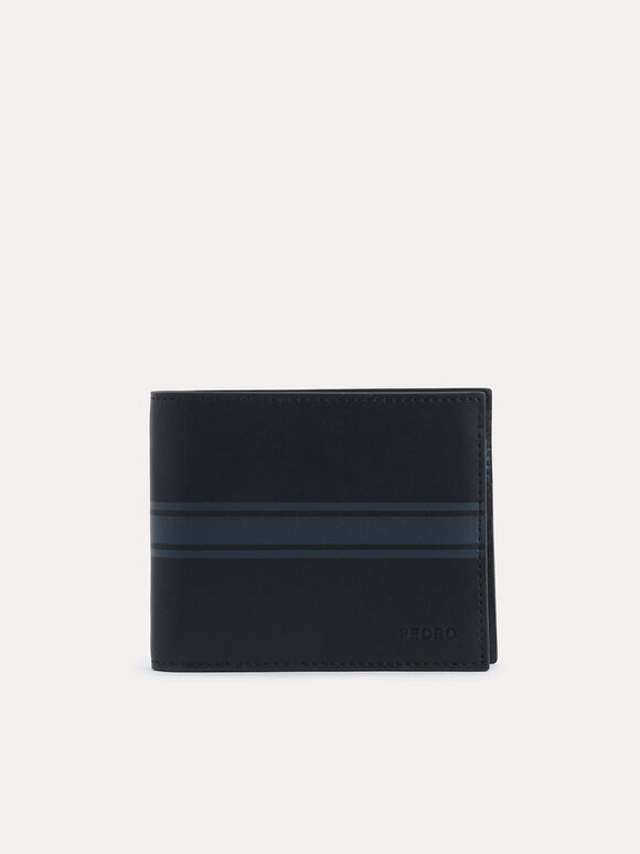 Two-Tone Leather Bi-Fold Wallet, Black, hi-res