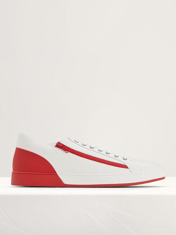 Zip-On Court Sneakers, Red, hi-res