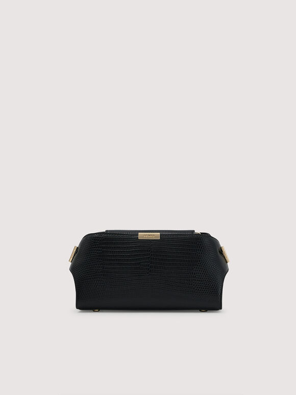 Embossed Leather Clutch, Black, hi-res