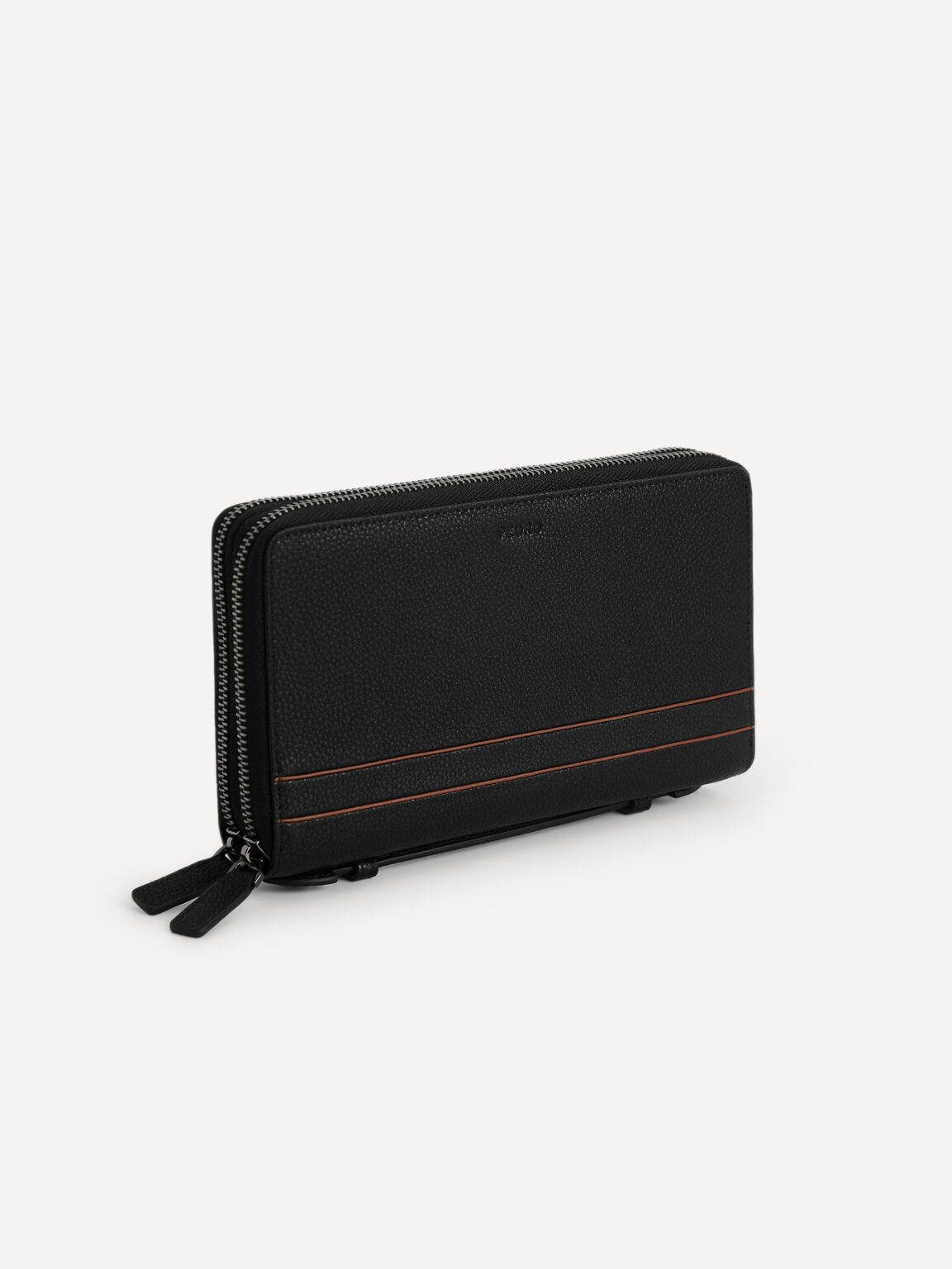 織紋皮革旅行箱, 黑色, hi-res