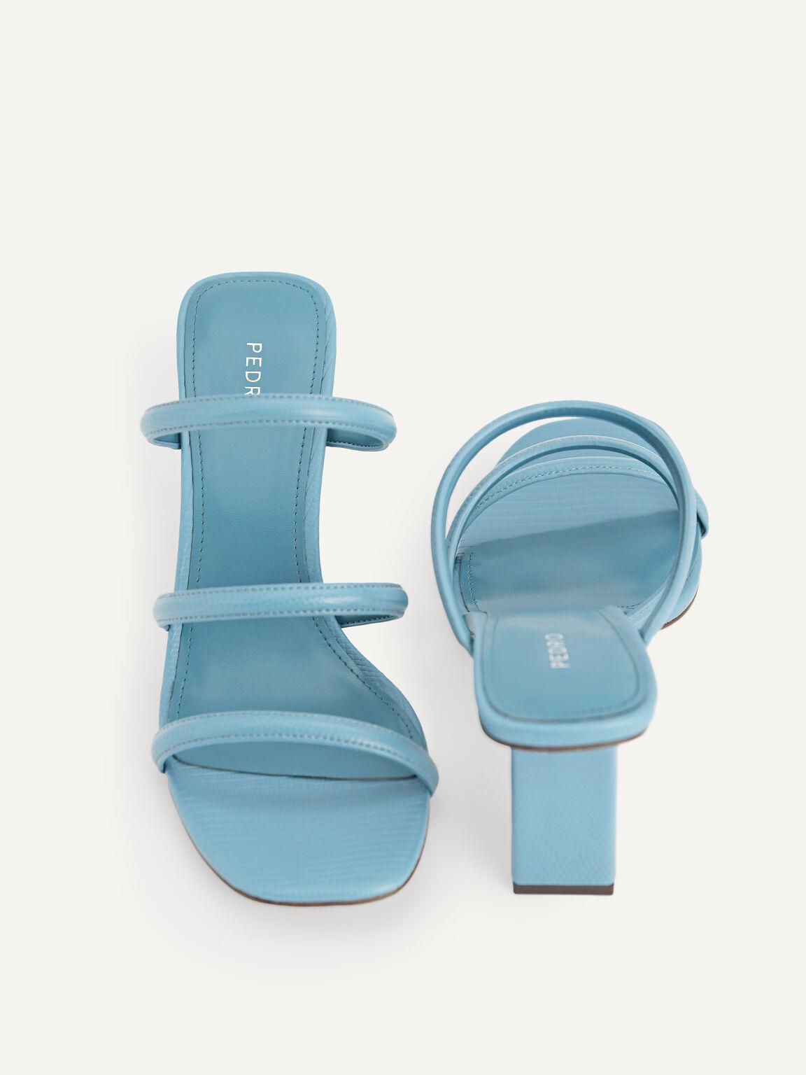Strappy Heeled Lizard-Effect Sandals, Cyan, hi-res