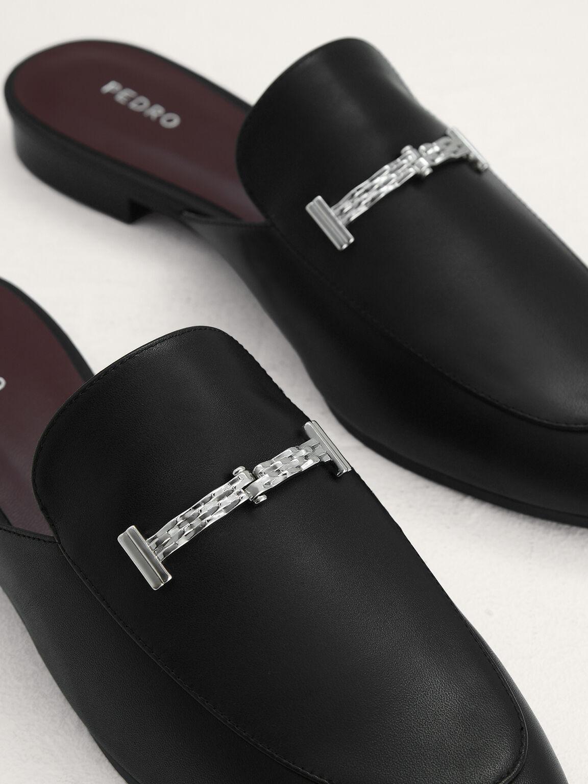 Plaque-Embellished Leather Mules, Black, hi-res