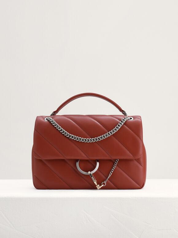 Qulited Shoulder Bag, Brick, hi-res
